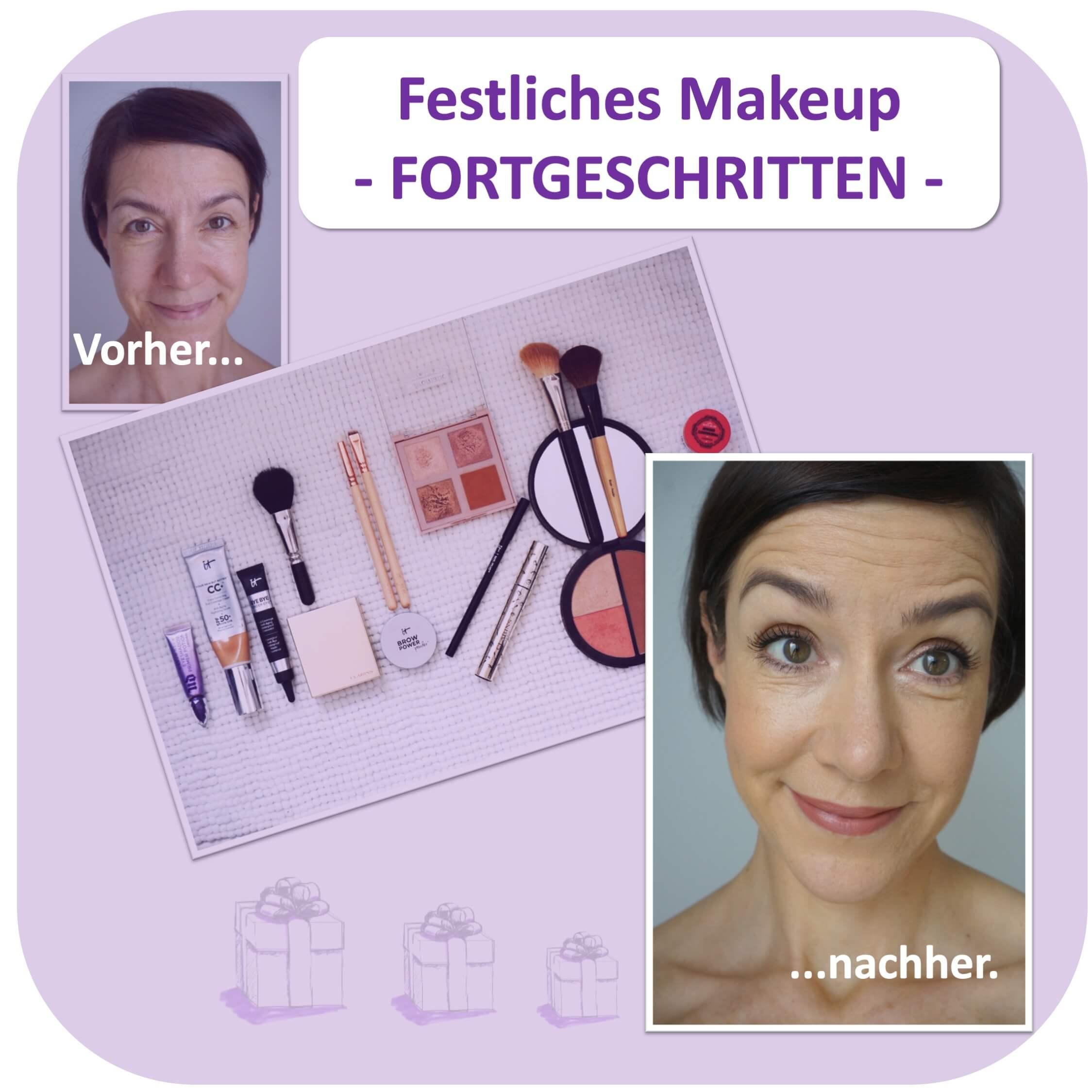 Dieses Vorher-Nachher-Bild zeigt das festliche Makeup für Fortgeschrittene, das Anja als Schritt-für-Schritt-Anleitung vorbereitet hat.