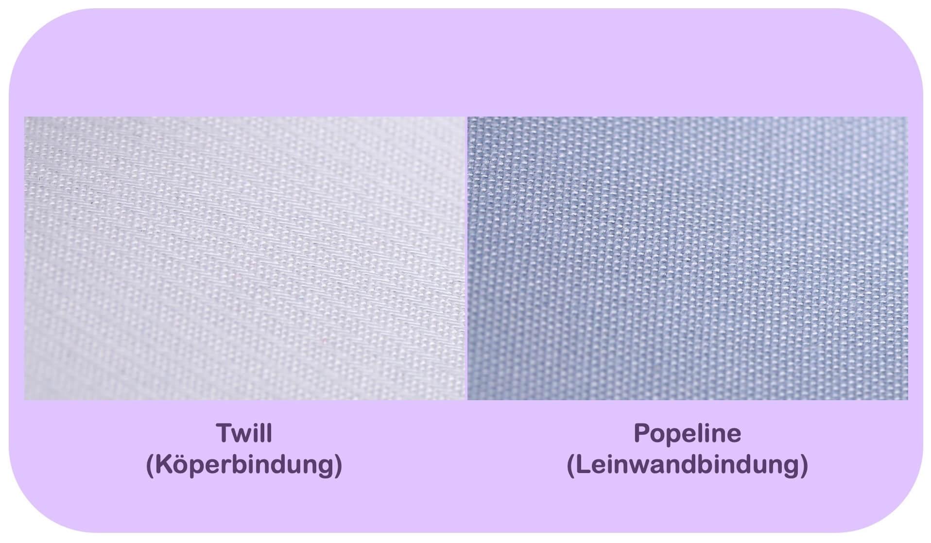 Unterschiedlcihe Blusen-Stoffe: Twill und Popeline