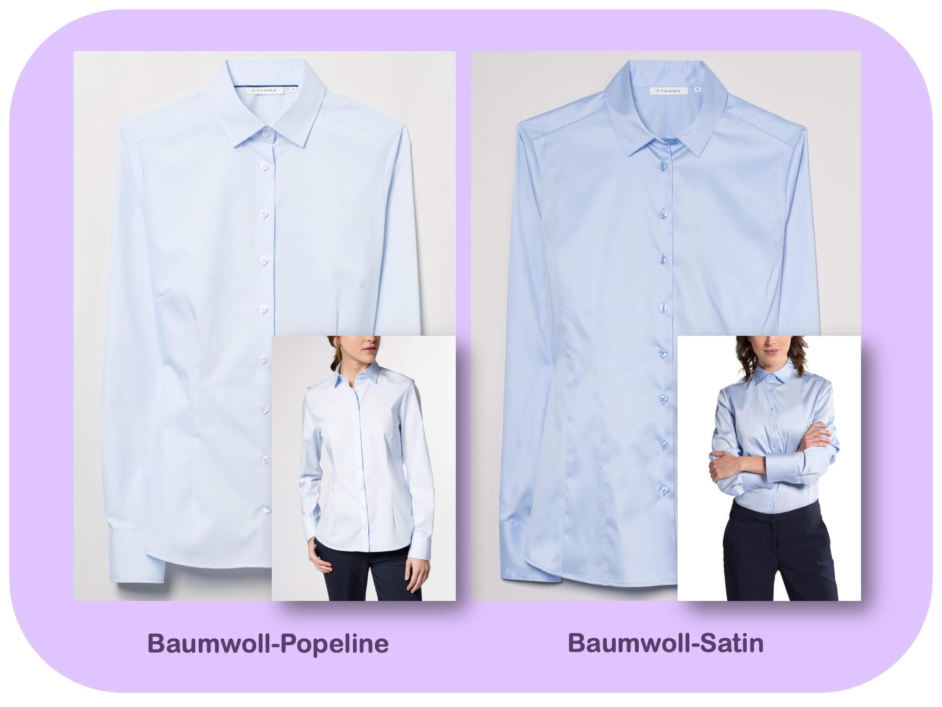 Blusen-Qualität: Baumwoll-Satin und -Popeline