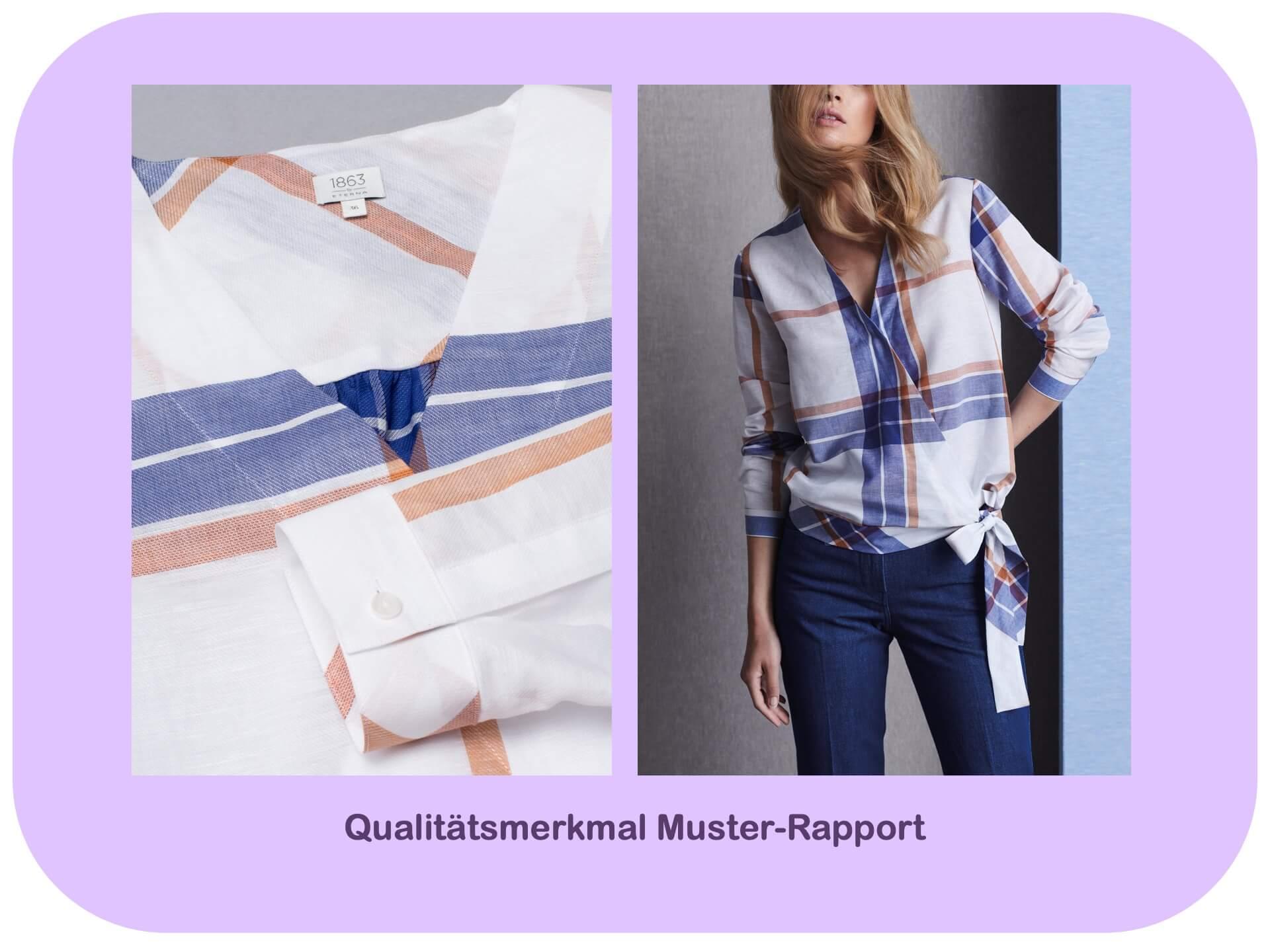 Am Muster.Rapport erkennt man die Qualität einer Bluse und ihre hochwertige Verarbeitung