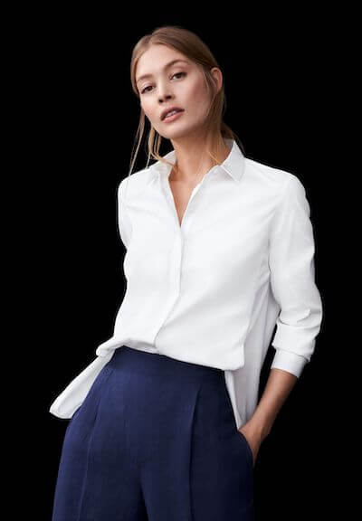 Hier sehen Sie nur eines der zahllosen Blusen-Modelle von ETERNA - zertifiziert nachhaltig und produziert in Europa.