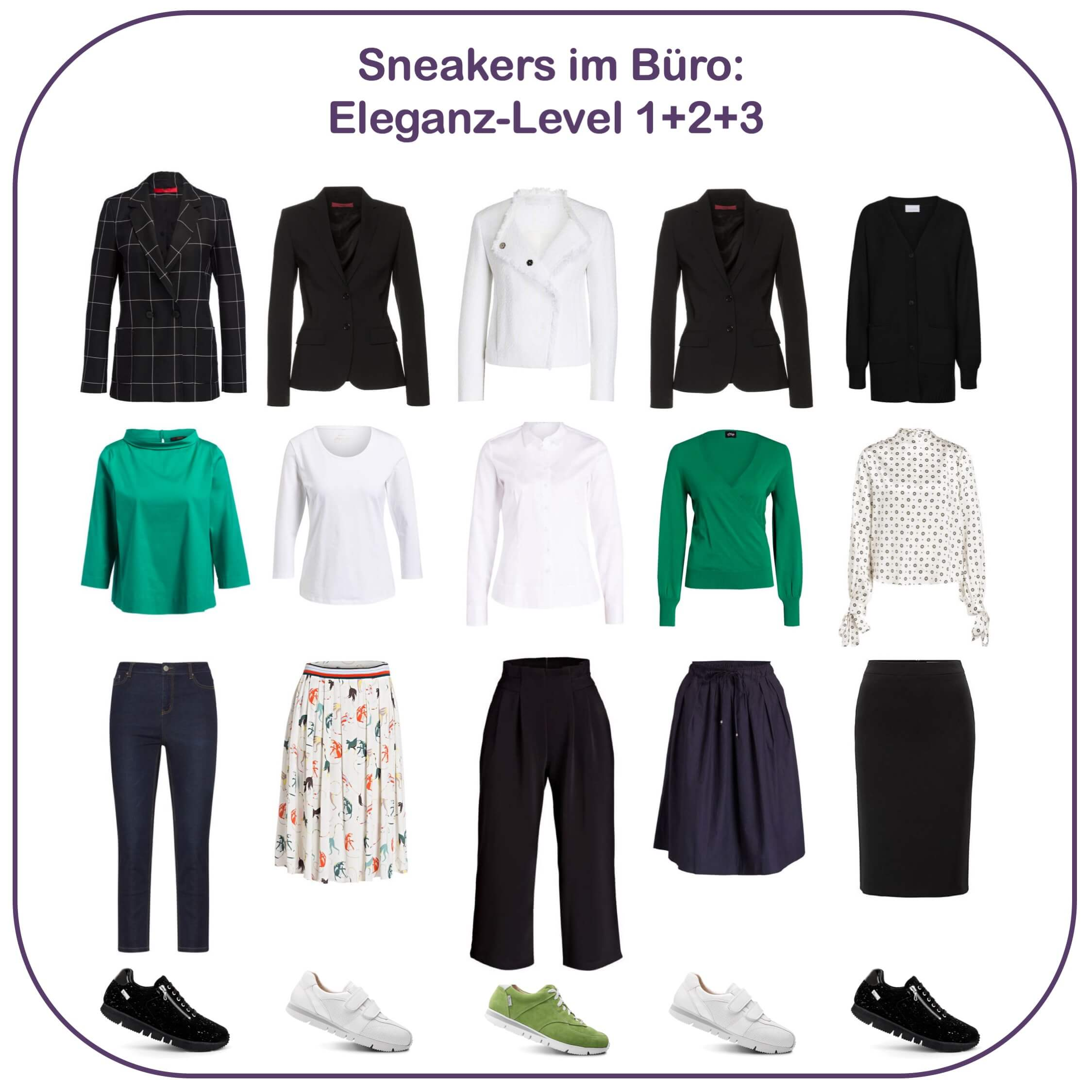 Sneakers im Büro - Eleganz-Level 1,2, und 3