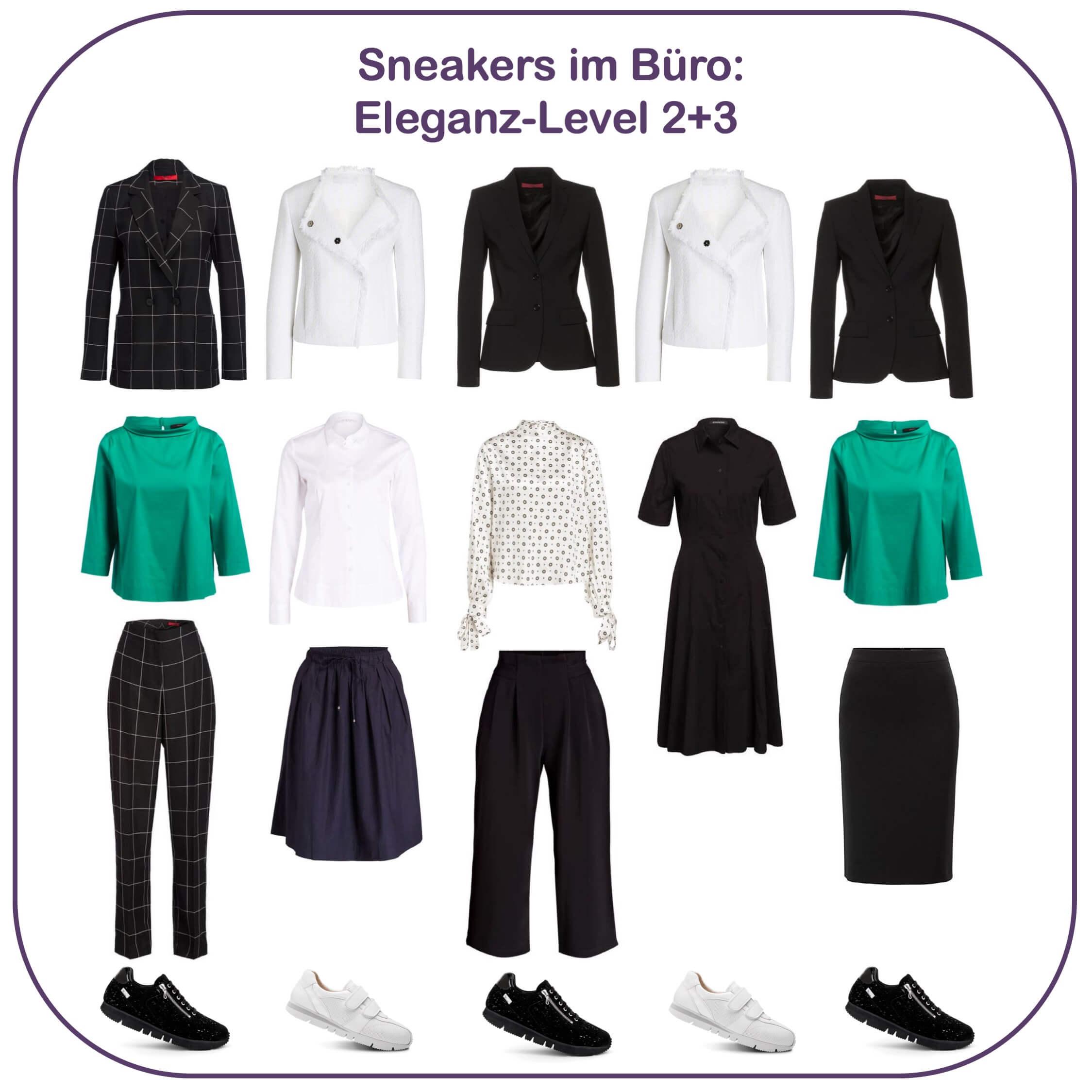 Sneakers im Büro - Eleganz-Level 2 und 3