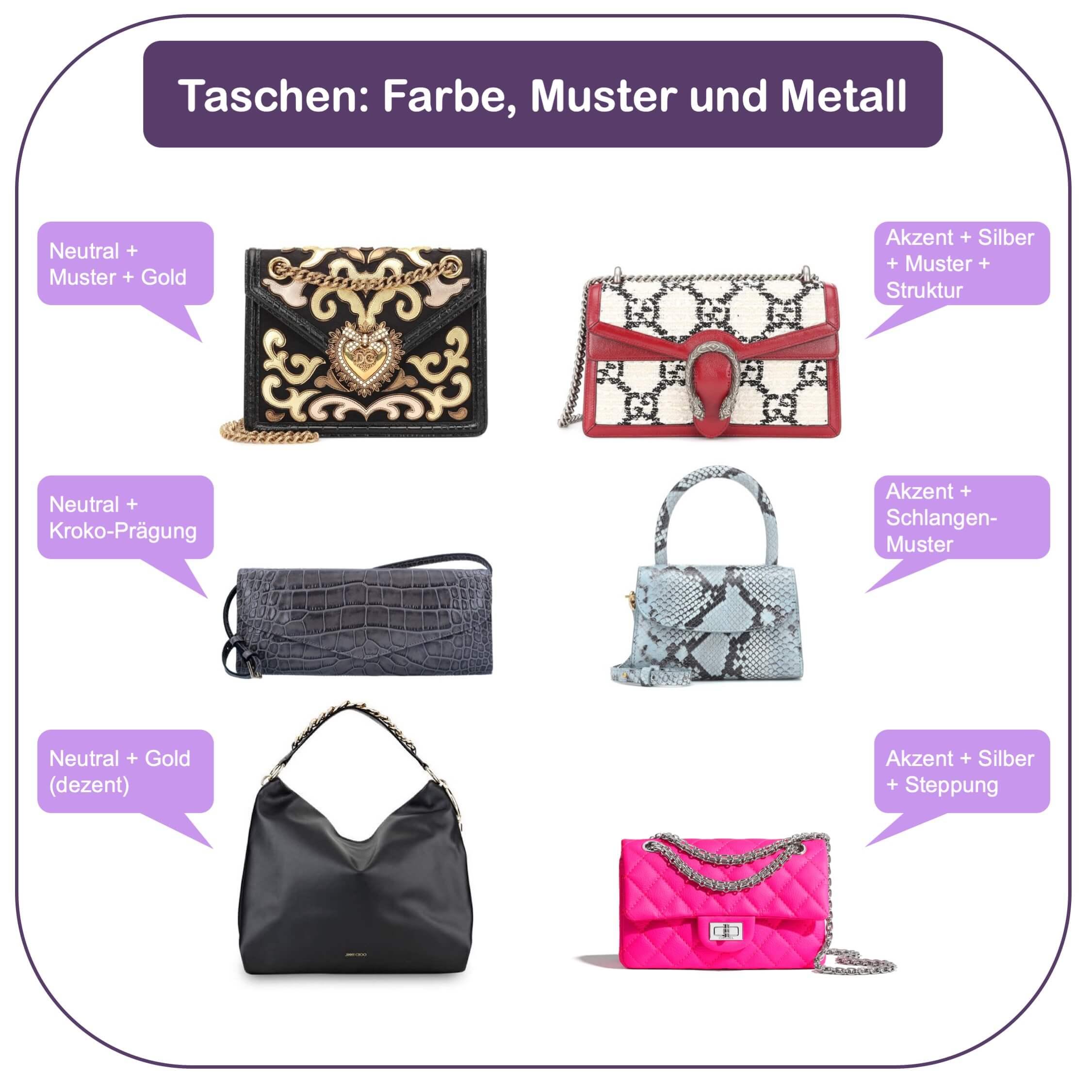 Passende Handtasche finden - Farben und Muster