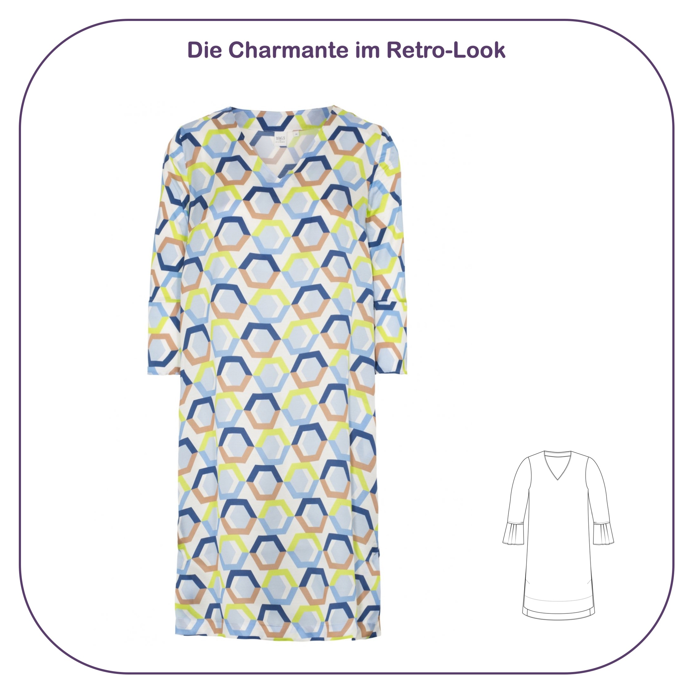Blusenkleid mit Muster im Retro-Look