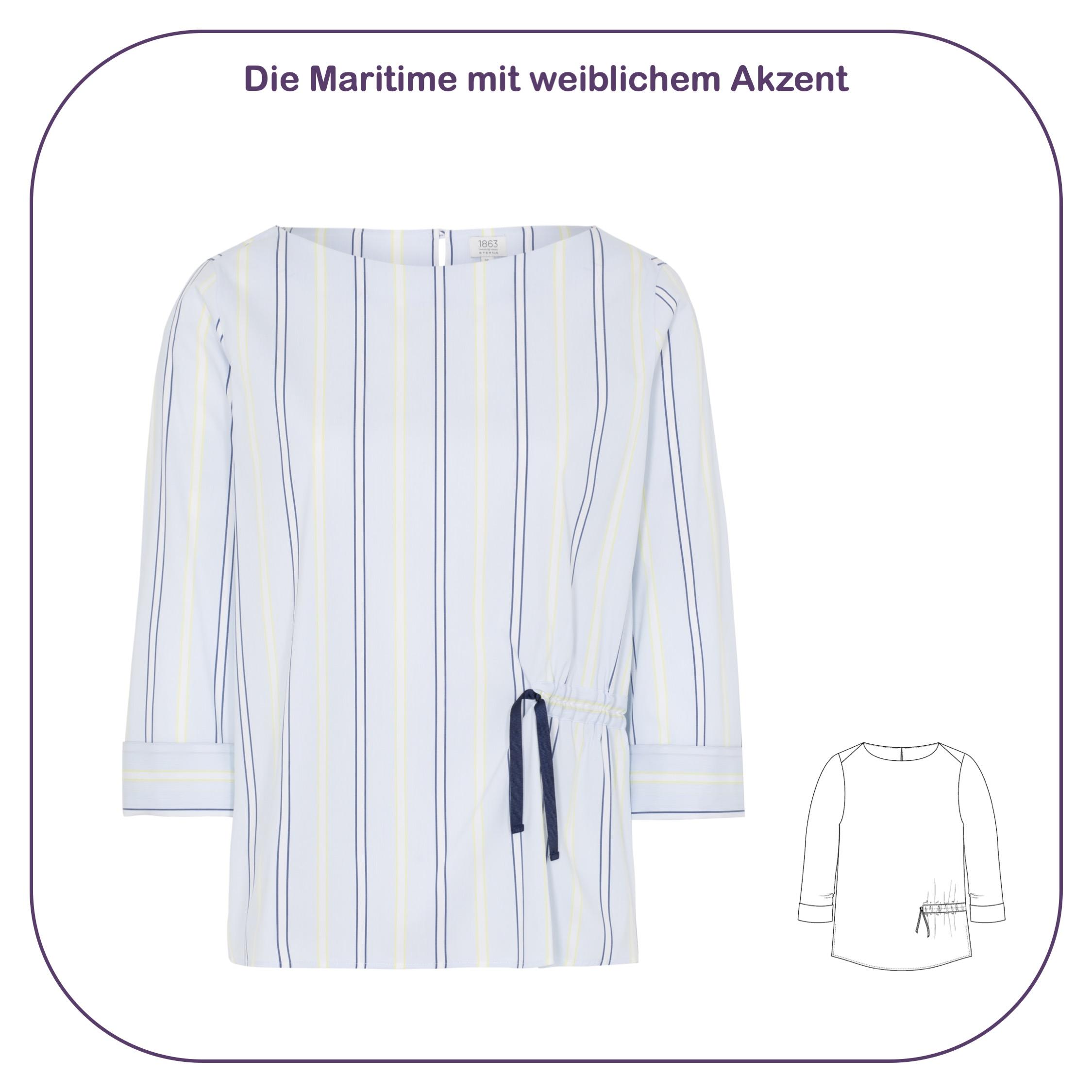 Bluse mit U-Boot-Ausschnitt und asymmetrischer Raffung im maritimen Stil