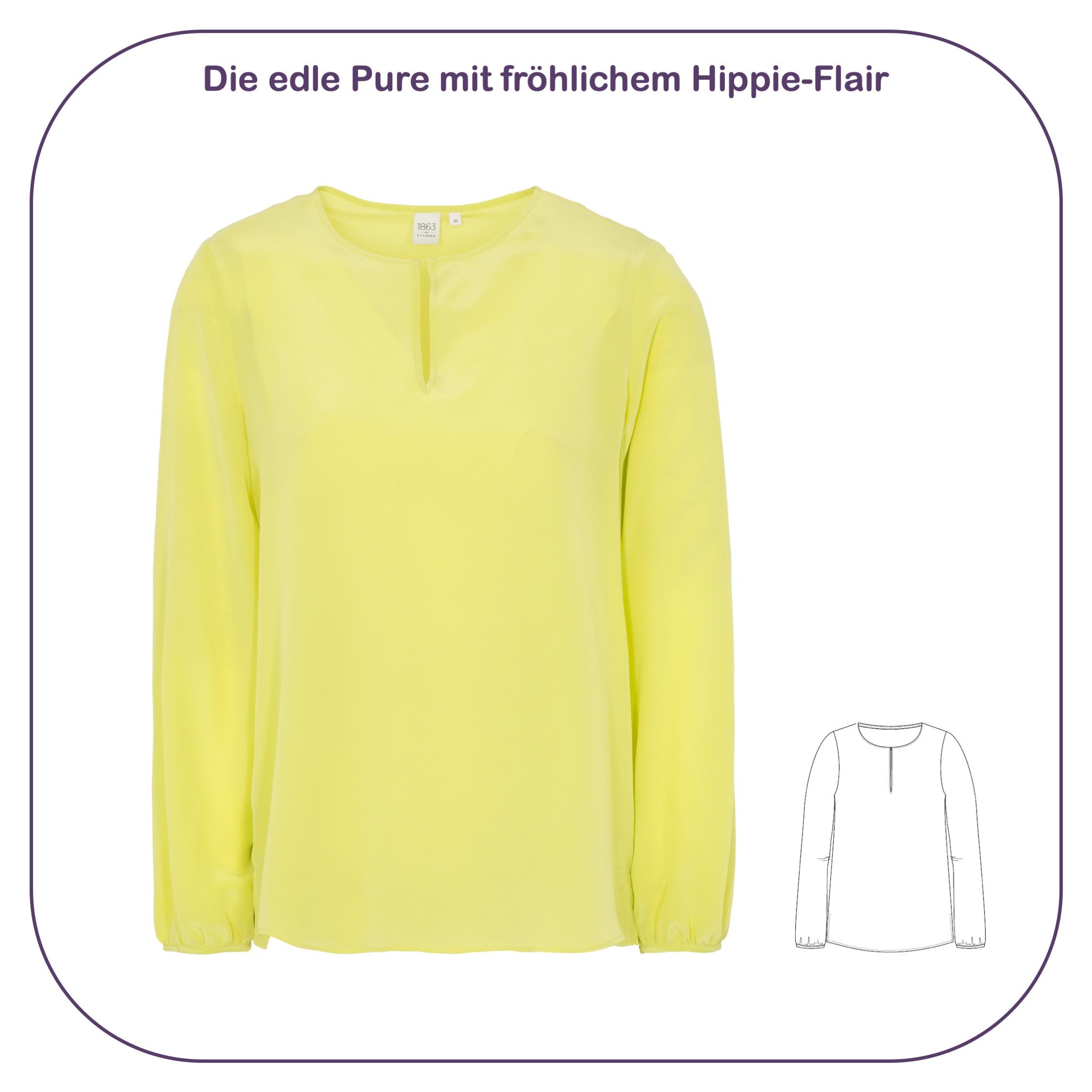 Pure, edle Seidenbluse in Gelb mit Hippie-Flair