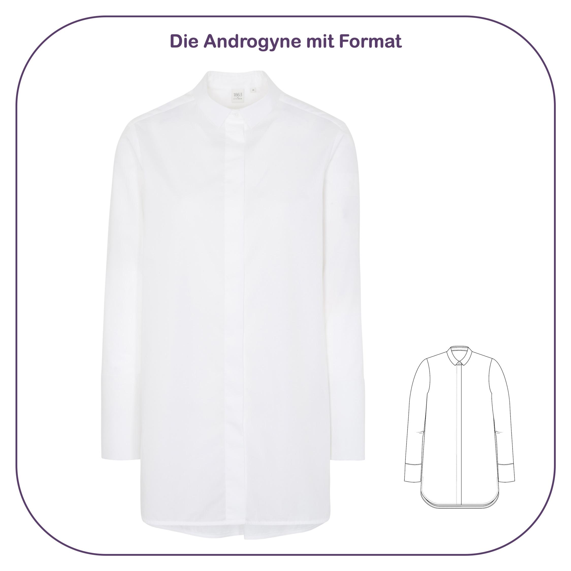 Hemdbluse in Oversize mit breiten Manschetten im androgynen Stil