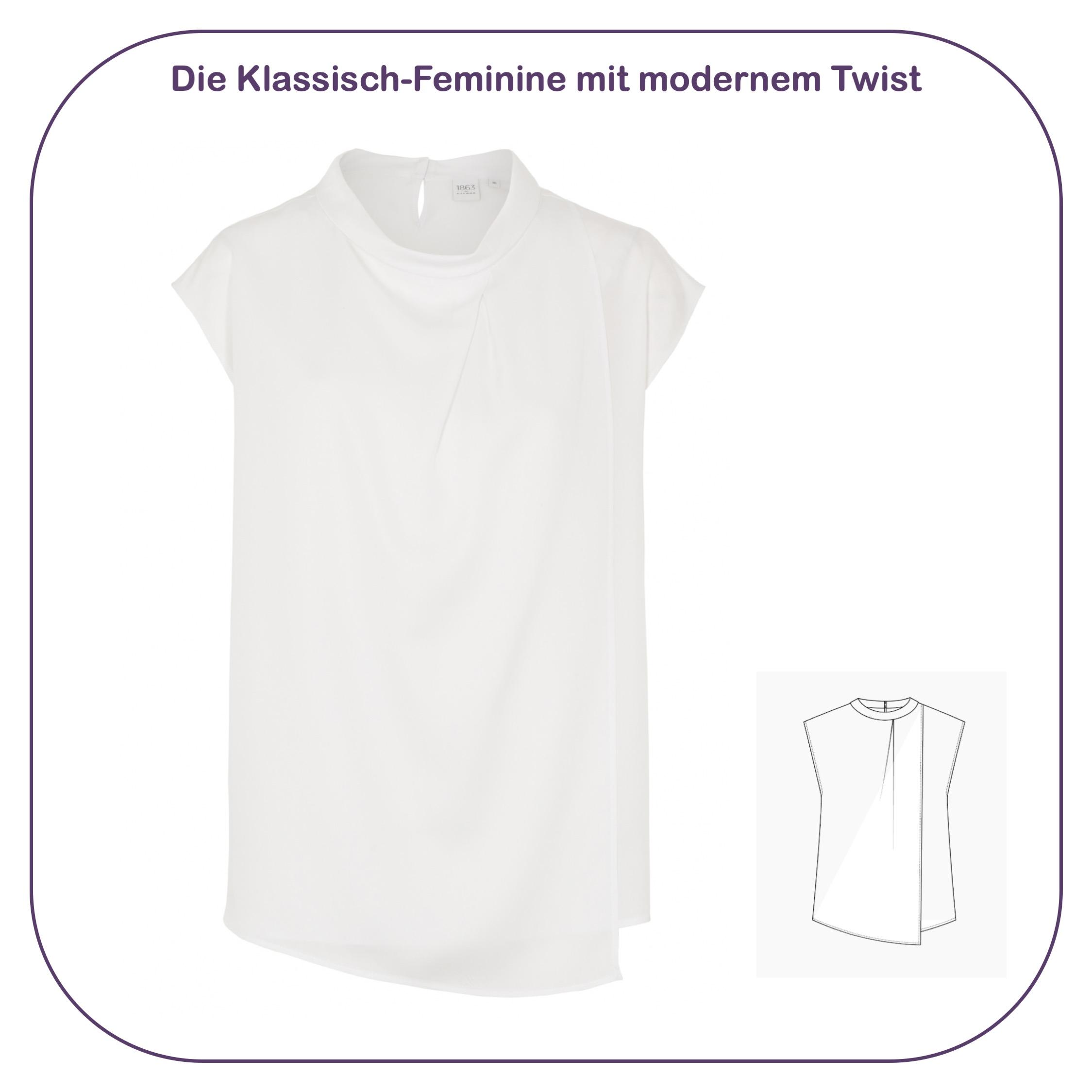 weiße ärmellose Bluse im klassisch-eleganten Stil mit modernem Twist