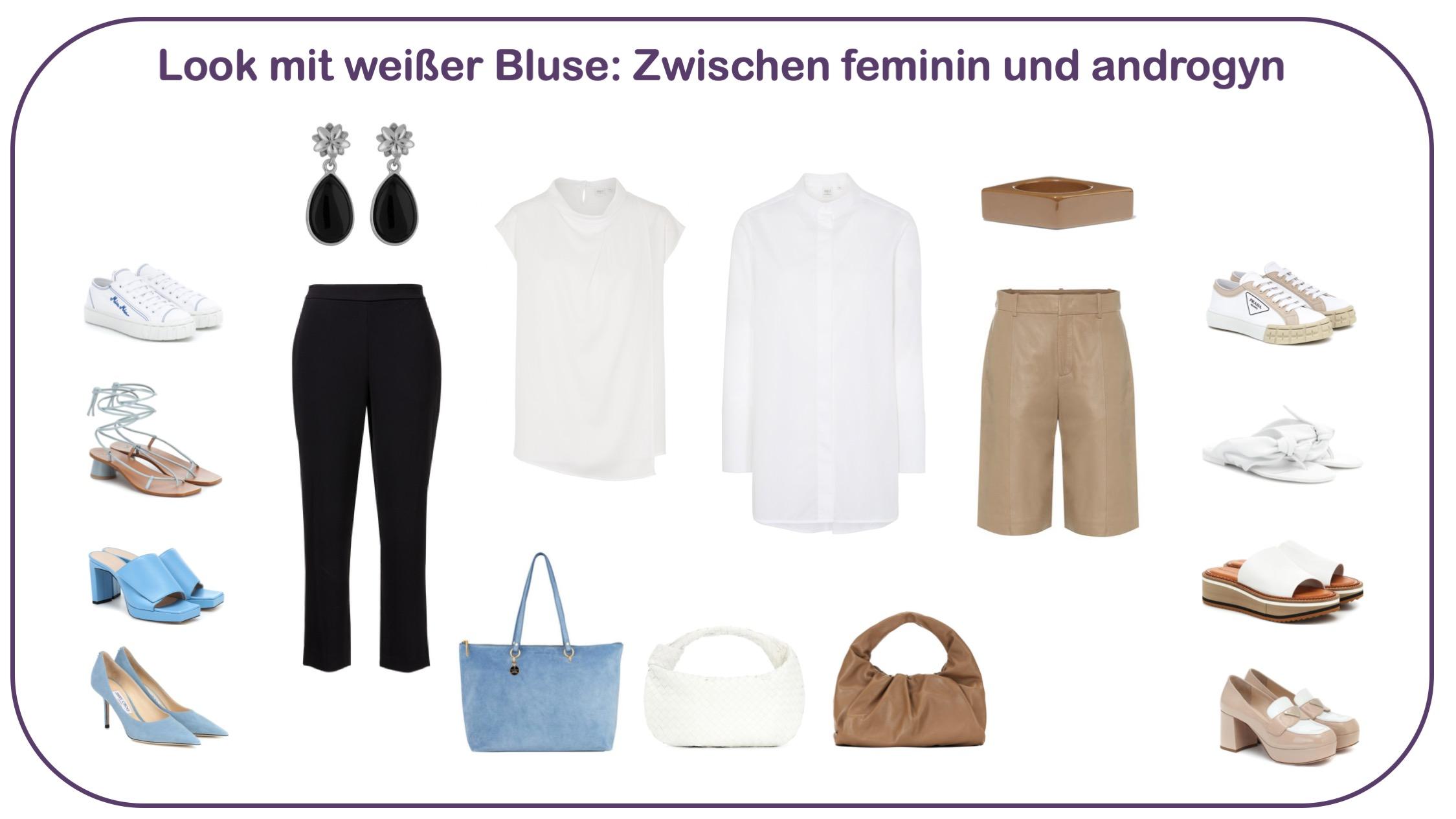 Blusen gewinnen und kombinieren: feminin oder androgyn