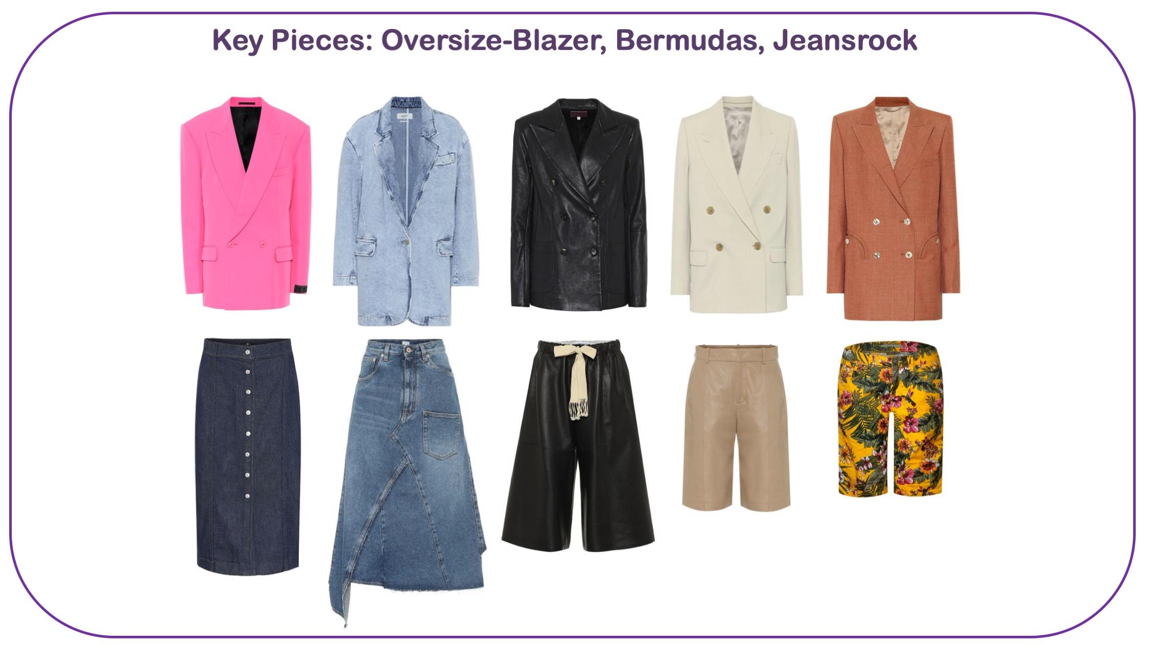 Modetrends Frühjahr/Sommer 2020 - Oversized Blazer, Bermudas, Jeansröcke für Frauen über 40