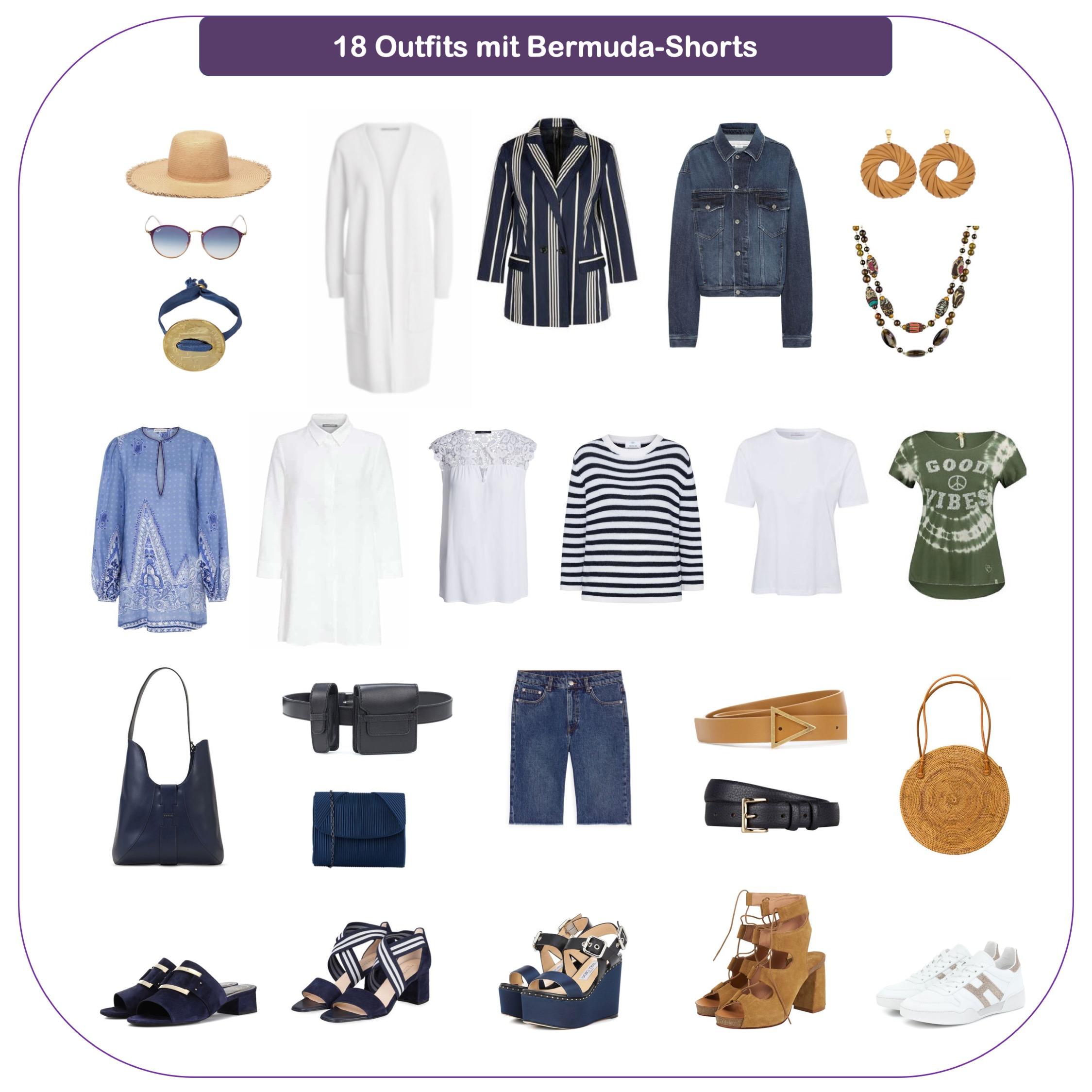 Bermuda-Shorts kombinieren - Outfits mit Jeans-Bermudas