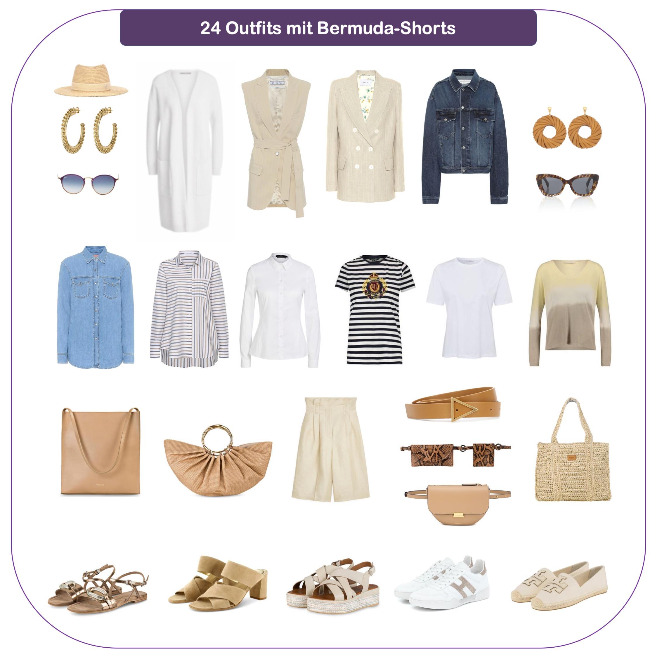Brmuda-Shorts kombinieren - Outfits mit beigen Bermudas
