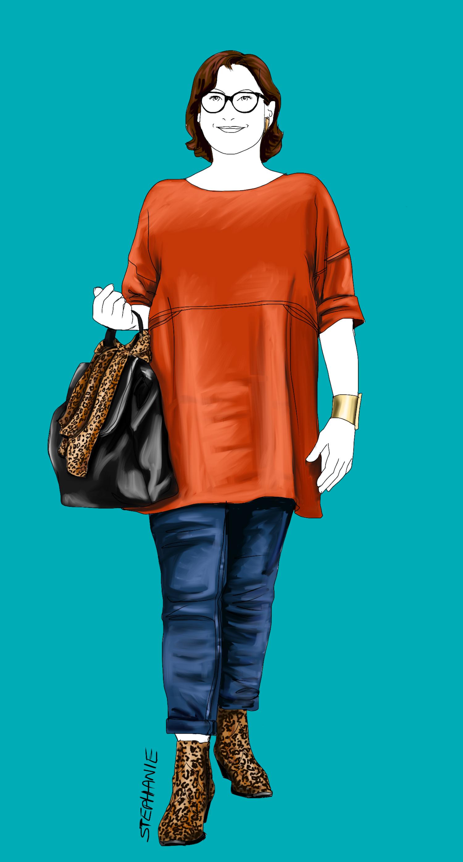 lässiger Stil-Typ - Outfit mit rostbrauner Tunika