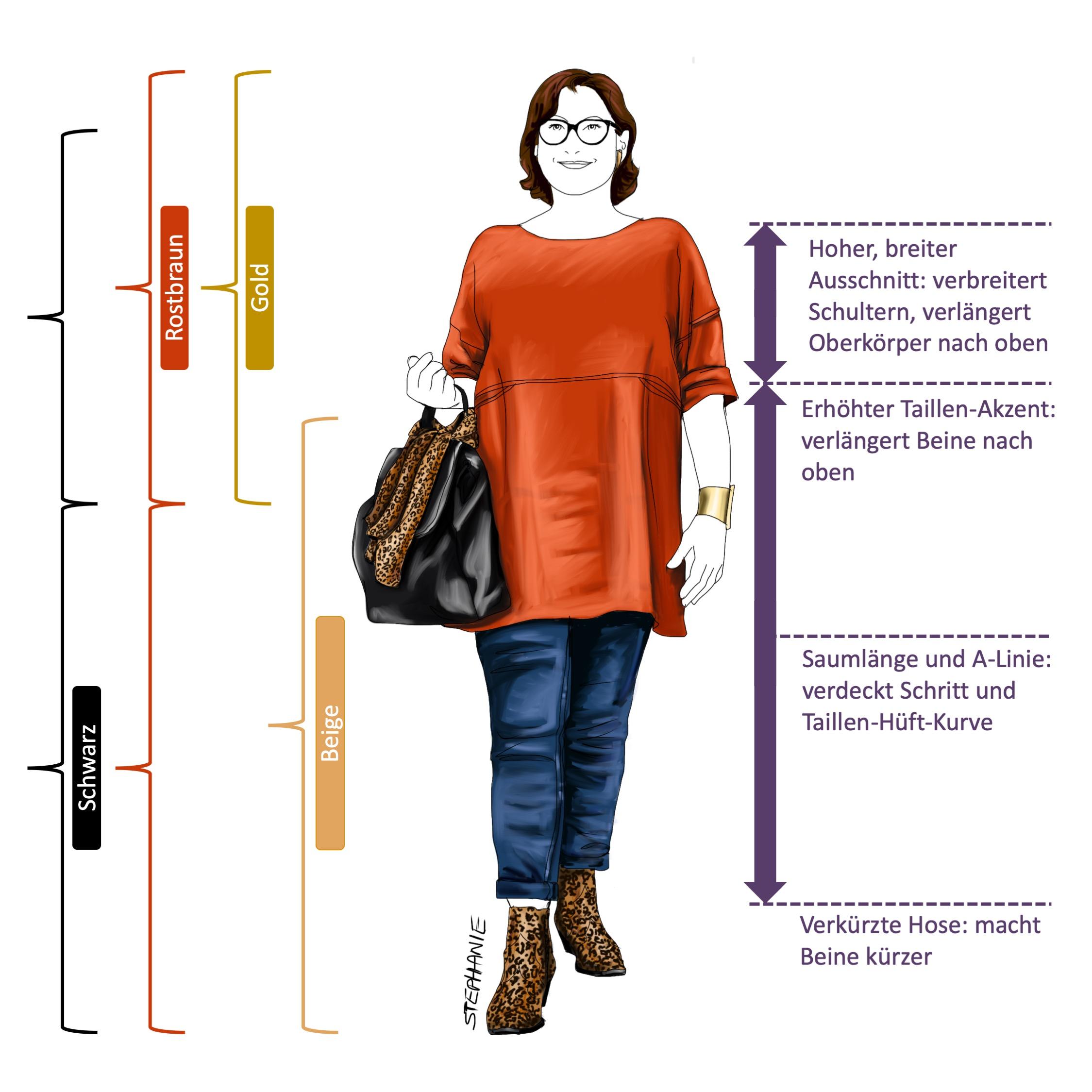 Lässiger Stil-Typ bei X-Figur: Farben und Proportionen