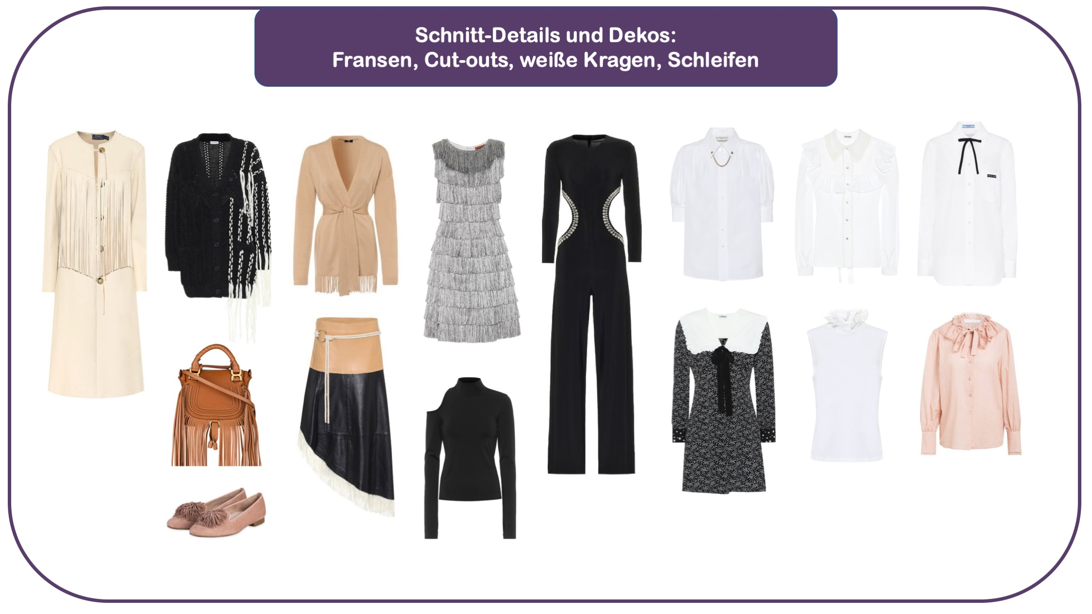 Key-Pieces des Modetrends Fransen, Cut-outs, Schleifen