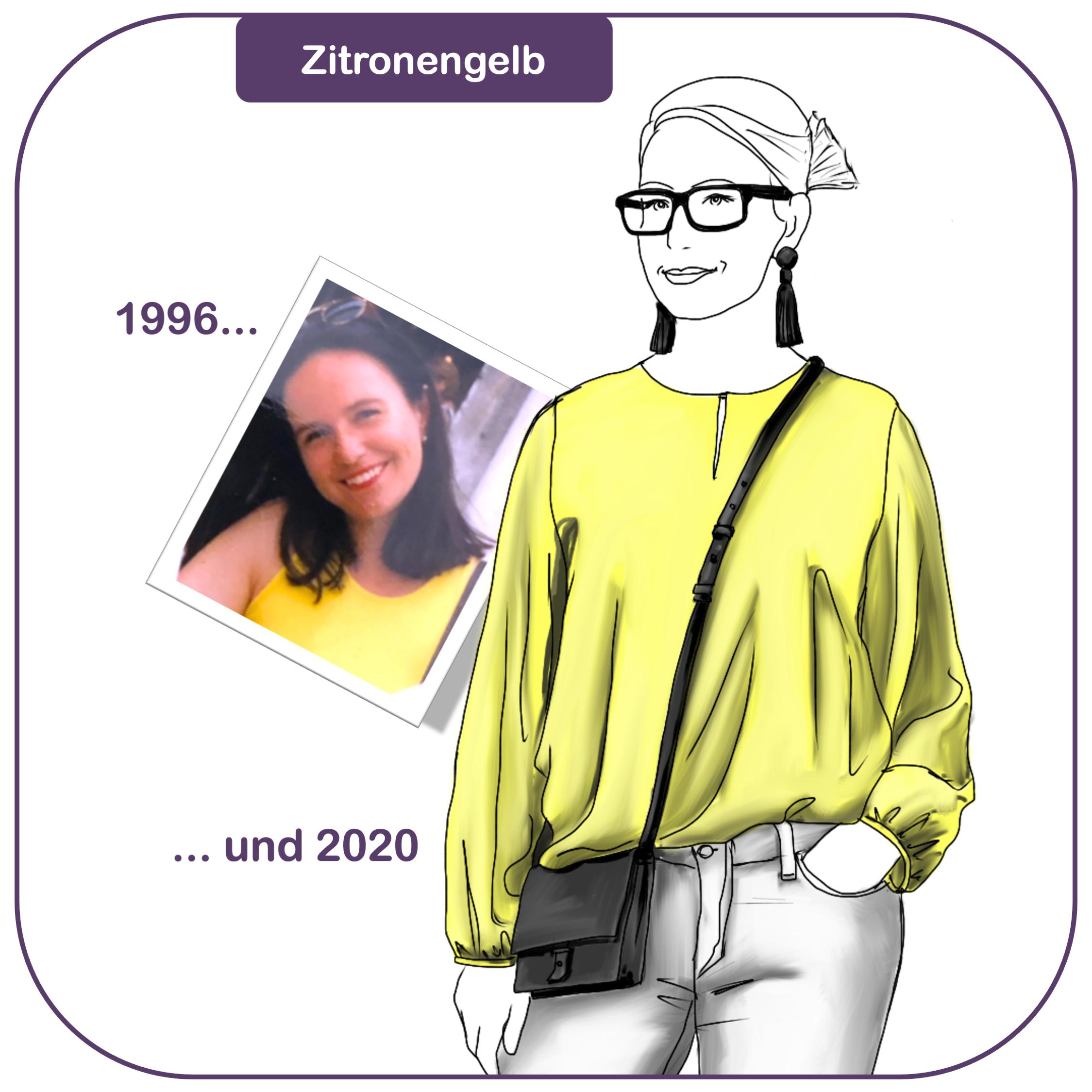 Modefarbe Gelb kombinieren - Modeflüsterinträgt eine zitronengelbe Bluse mit weisser Jeans