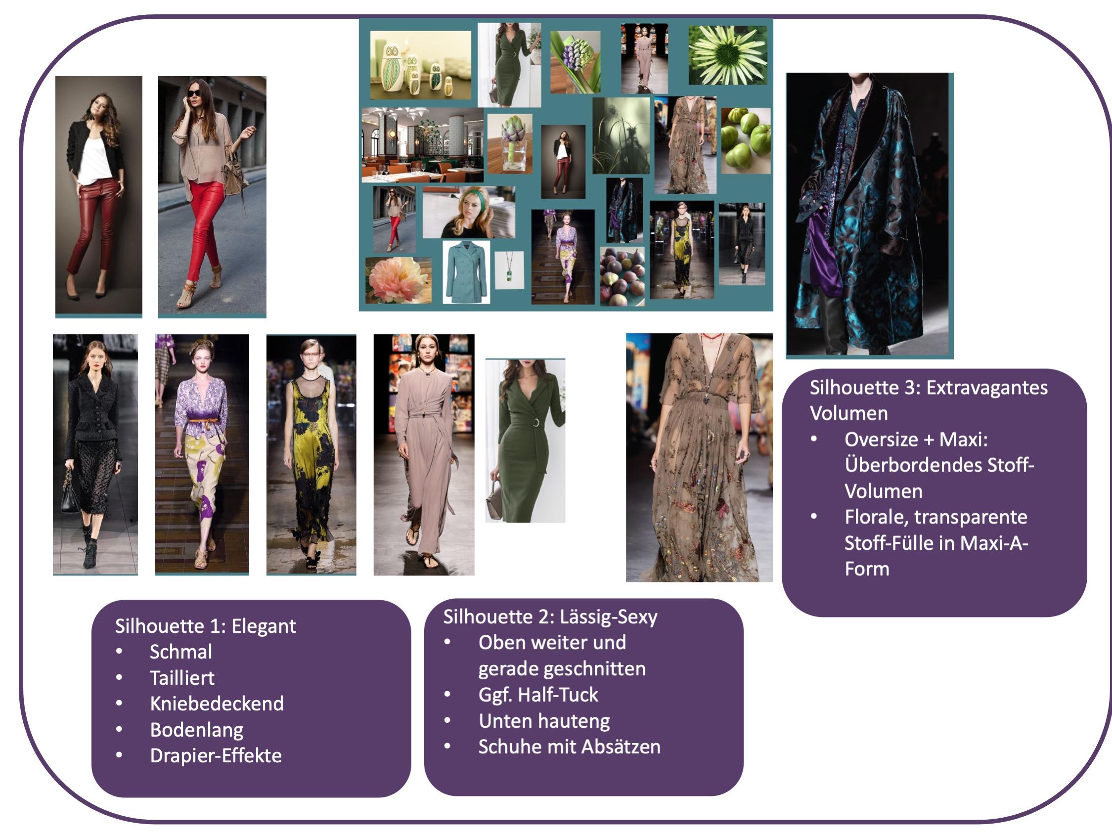 Stiltyp elegant, feminin und sexy - Silhouetten des Moodboards