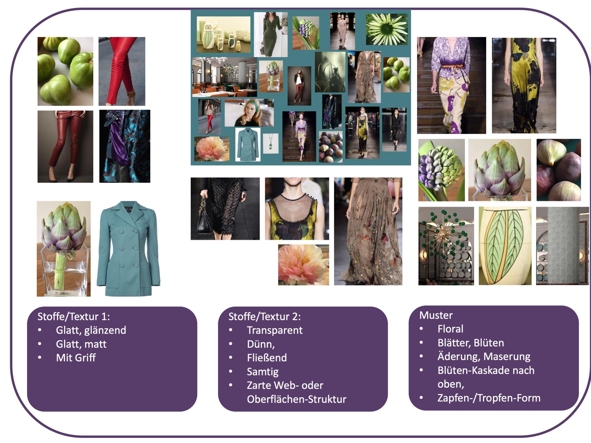Stiltyp elegant, feminin und sexy - Stoffe und Strukturen des Moodboards