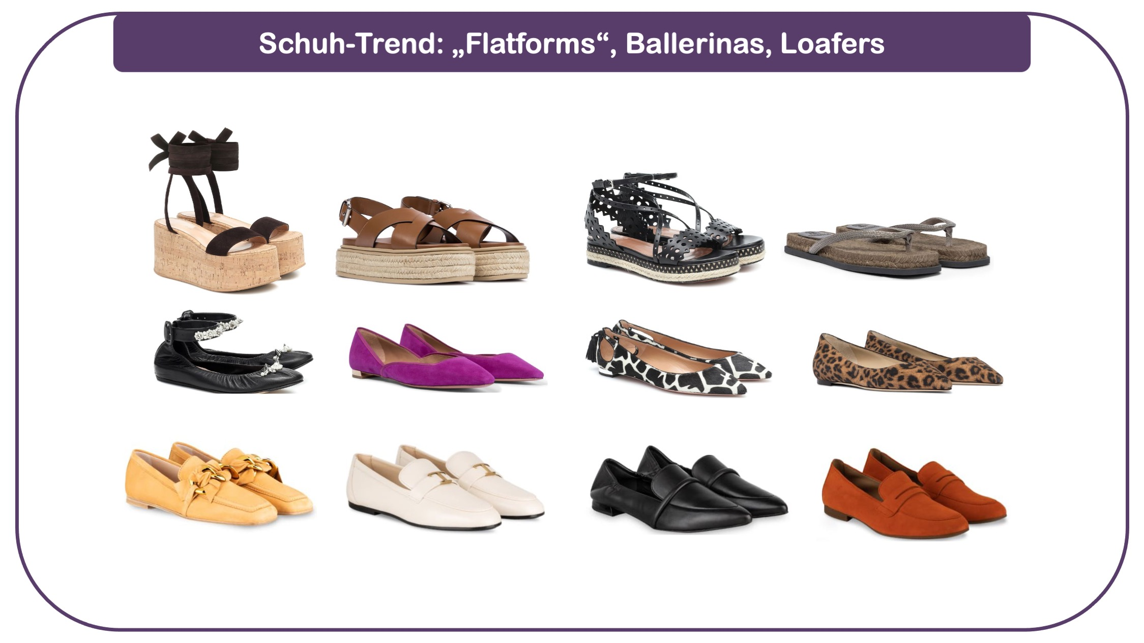 Modetrends für Frauen 40 plus - Ballerinas, Loafers, Flatforms