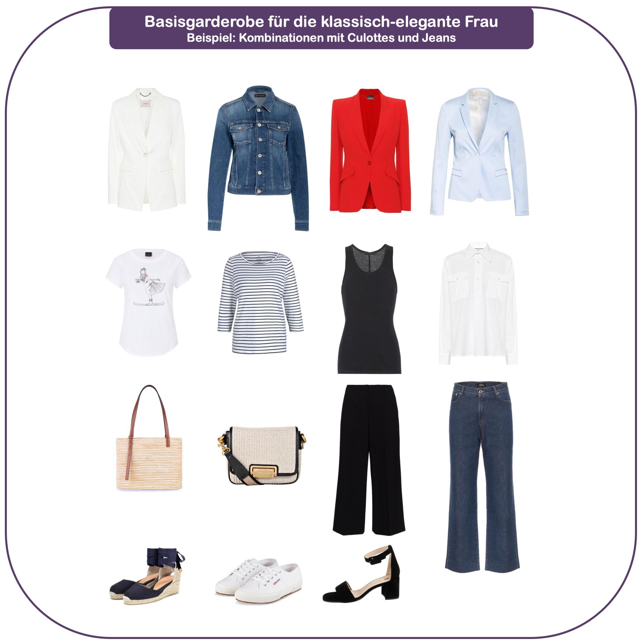 Basigarderobe für die klassisch-elegante Frau ab 40 - Basics Culottes und dunkelblaue Jeans
