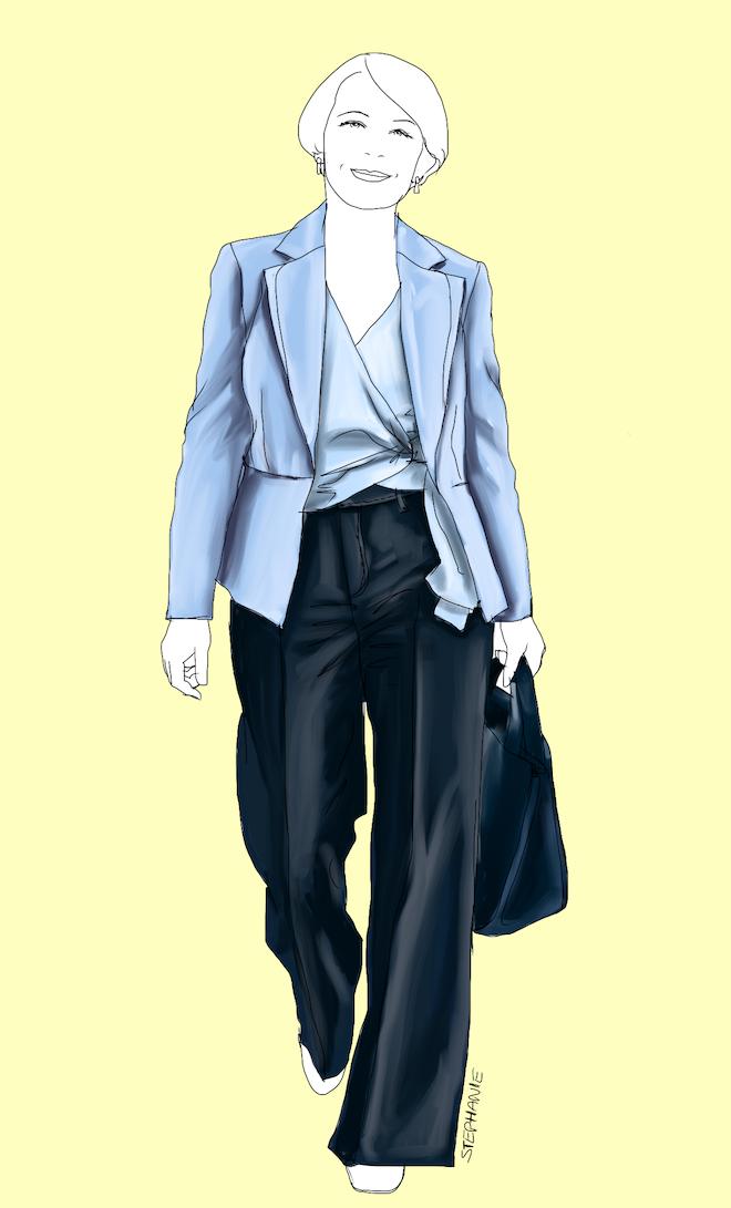 Basisgarderoeb für die klassisch-elegante Frau ab 40: Outfit mit dunkelblauer Jeans und Blazer