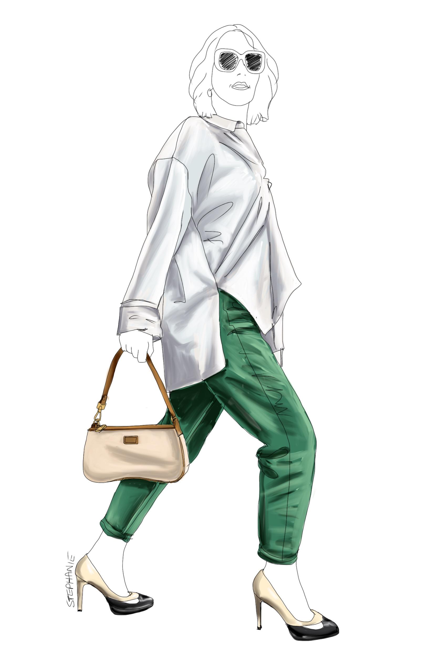 eine grüne alte Jeans wird neu kombiniert