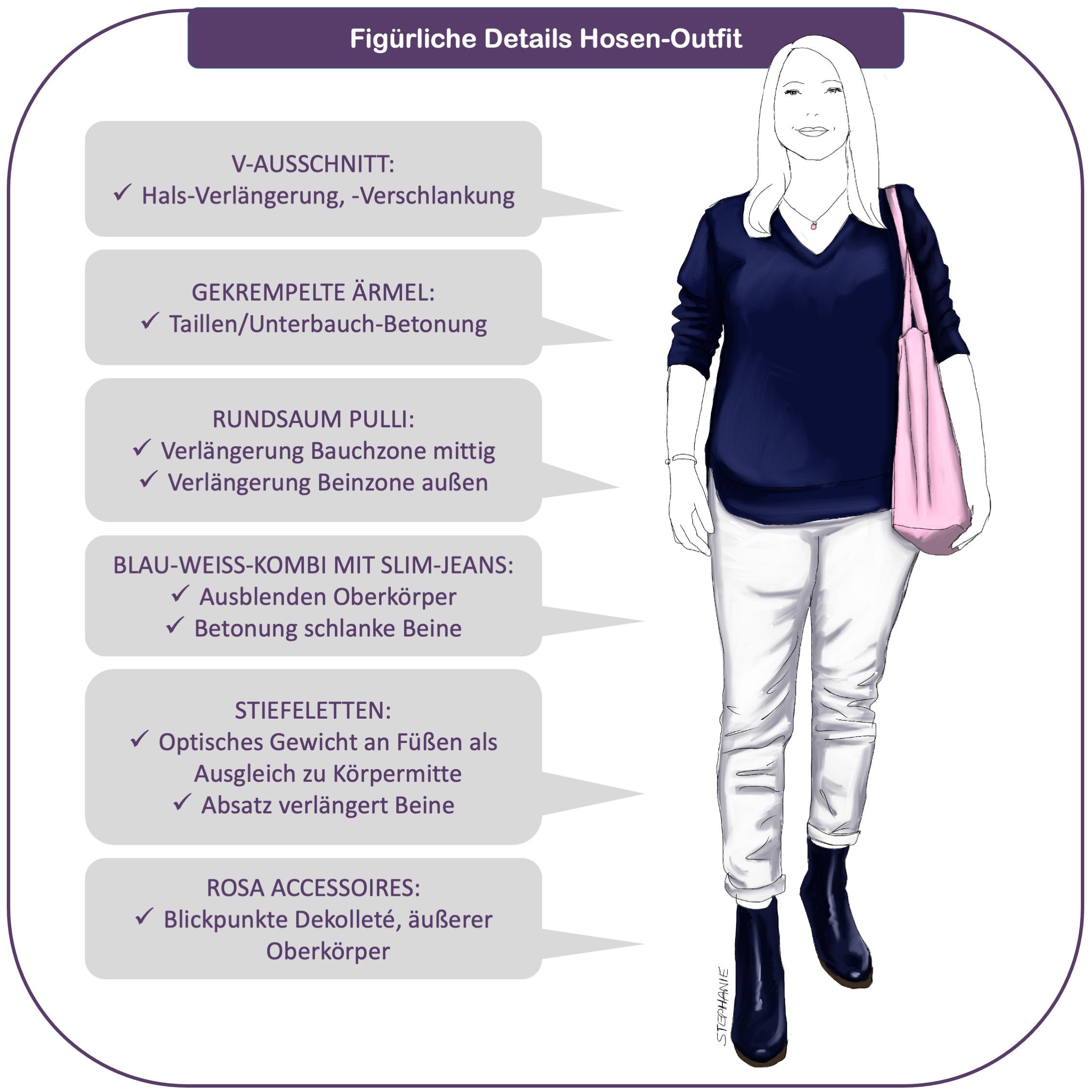 Monimalistin mit O-Figur: das Hosen-Outfit
