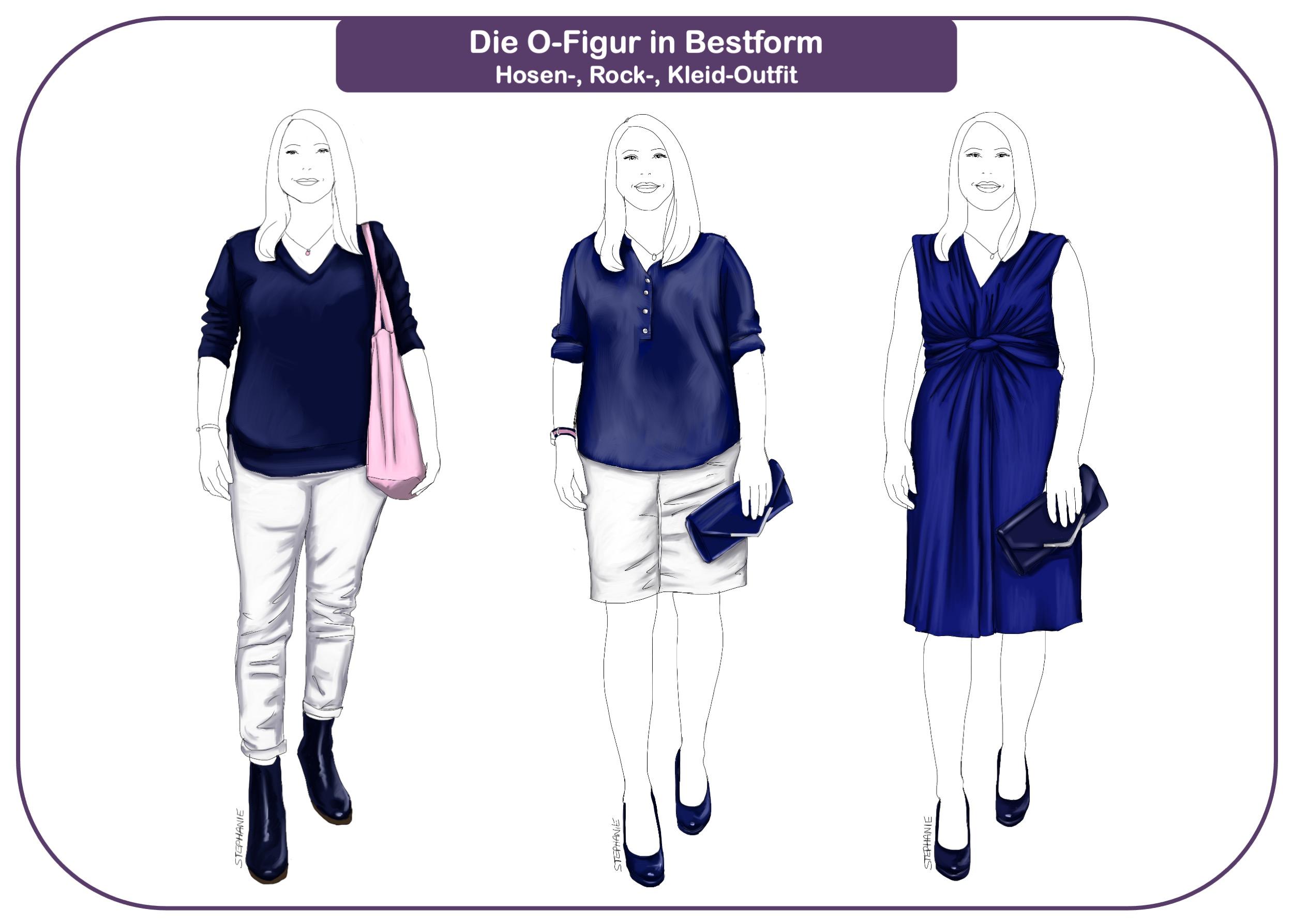 Drei Outfits für die Minimalistin mit O-Figur: mit Hose, Rock und Kleid