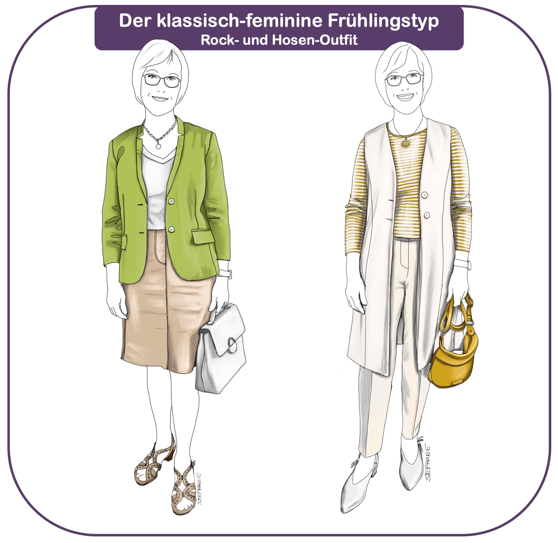 klassisch-femininer Frühlingstyp: zwei Outfits