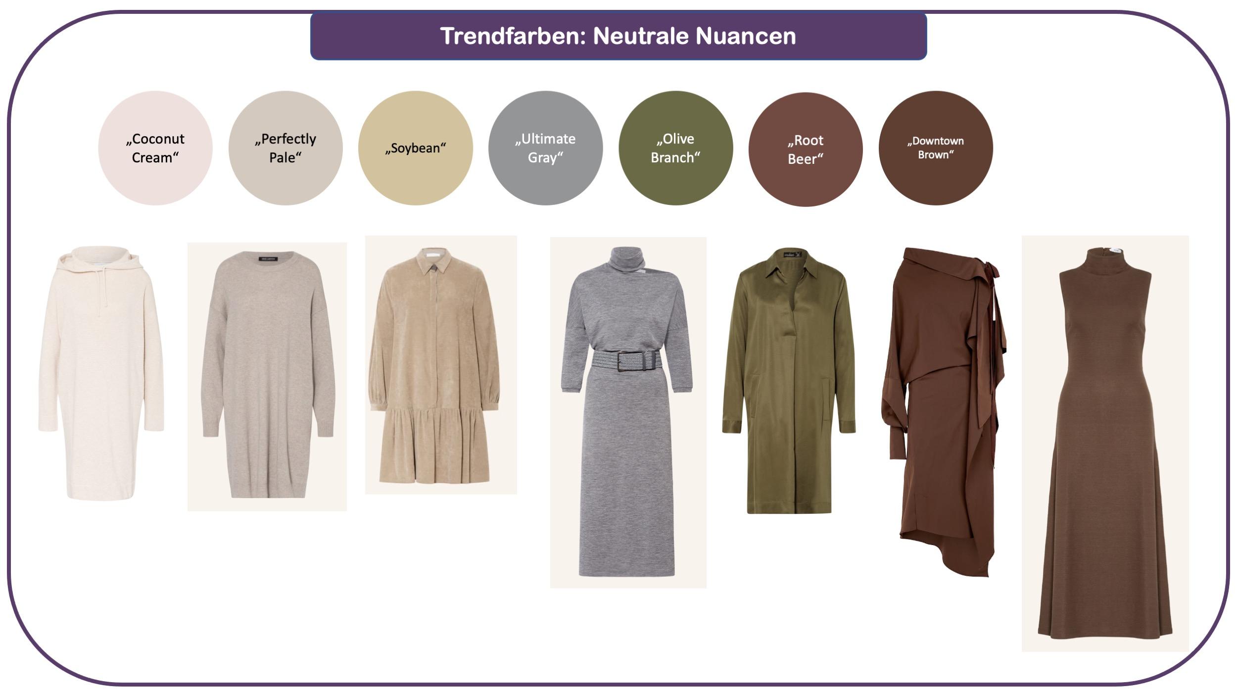 Trendfarben für Herbst und Winter 2021/22: neutrale farben, wie Off-White, Beige, Grau und Braun