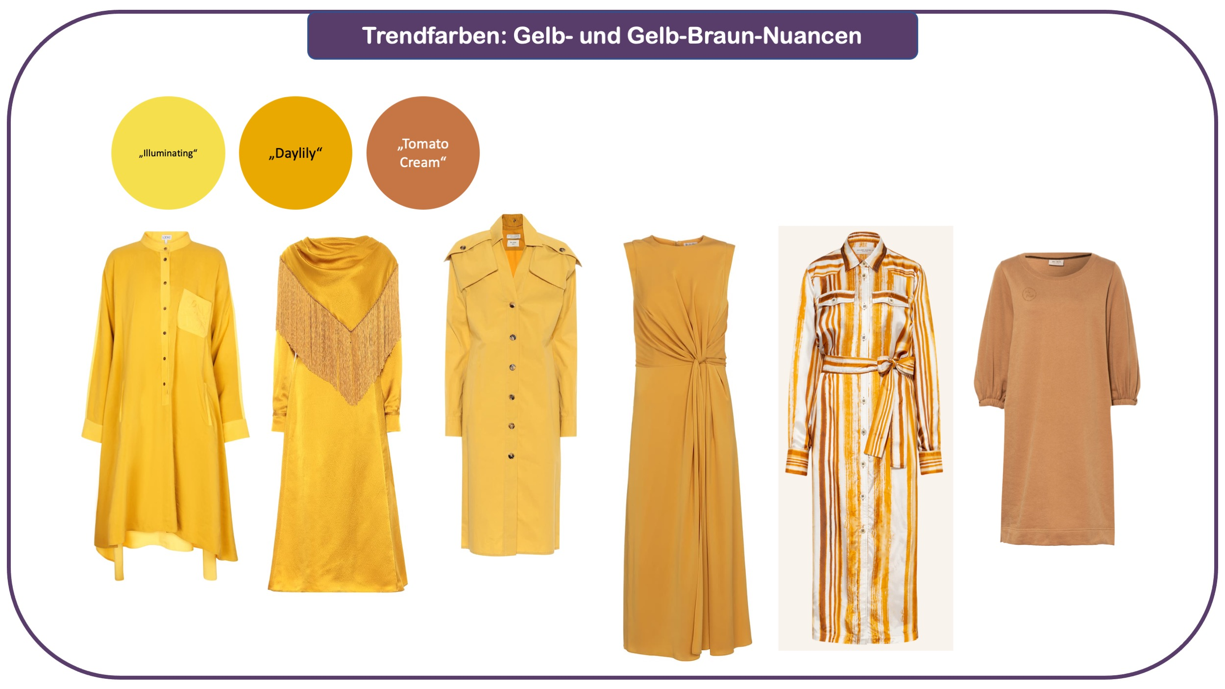 Trendfarben für Herbst und Winter 2021/22: Gelb und Gelbbraun