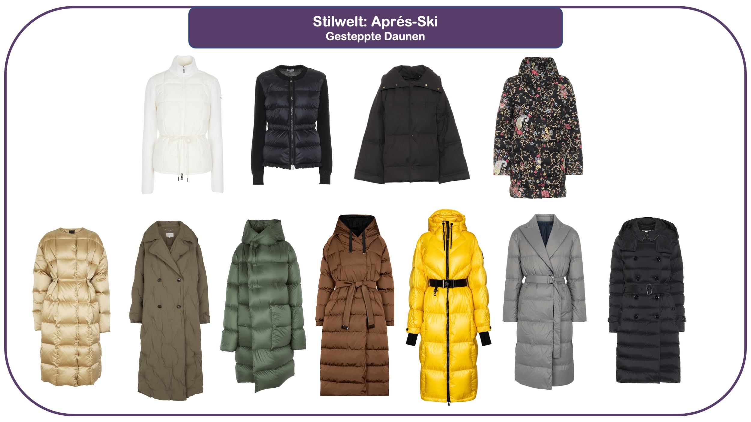 Modetrends für Herbst und Winter 2021/22 - Daunen jacken und Daunenmäntel