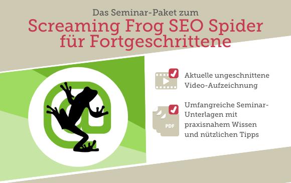Seminar-Paket: Screaming Frog SEO Spider für Fortgeschrittene