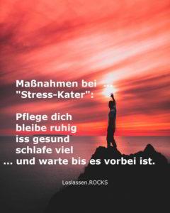 """Maßnahmen bei """"Stress-Kater"""": Pflege dich, bleibe ruhig, iss gesund, schlafe viel, und warte bis es vorbei ist."""
