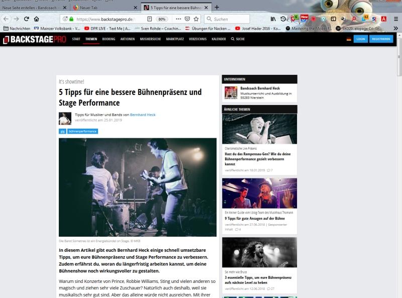 Artikel über Bühnenpräsenz auf backstagepro
