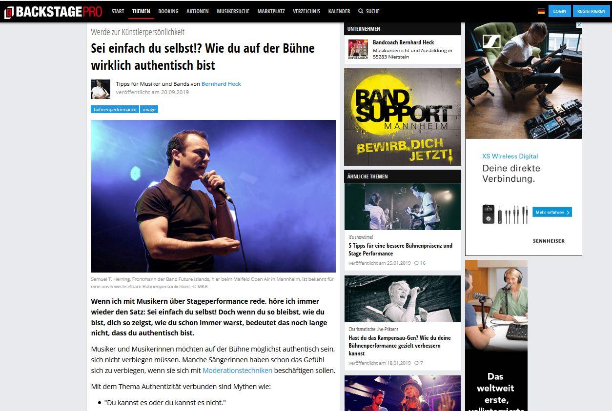 authentisch sein – backstagepro-Artikel
