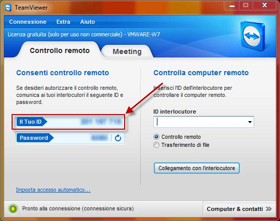 TeamViewer per Windows, comunica il tuo ID e la tua password all'assistenza