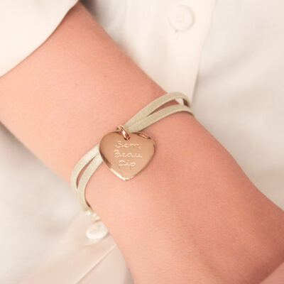 Heart Charm Satin Stretch Bracelet