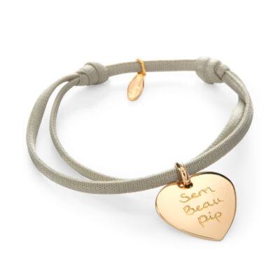 Heart Charm Satin Stretch Bracelet