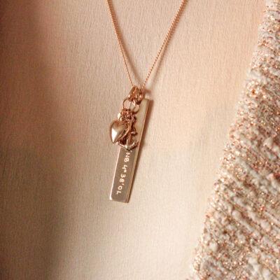 Vertical Bar Necklace with Hope Faith Love Charm