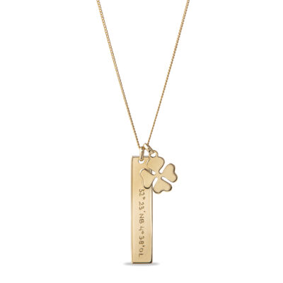 Vertical Bar Necklace with Lucky Charm