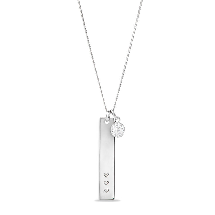Vertical Bar Necklace with Tiny sparkle