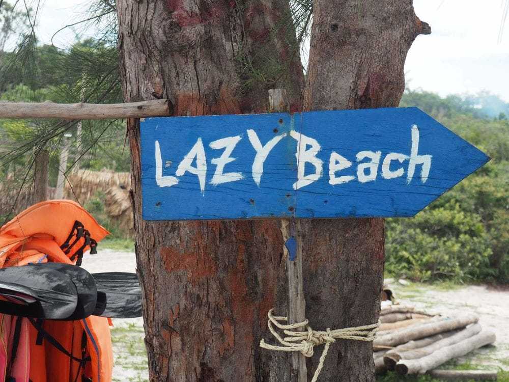 Lazy beach sign