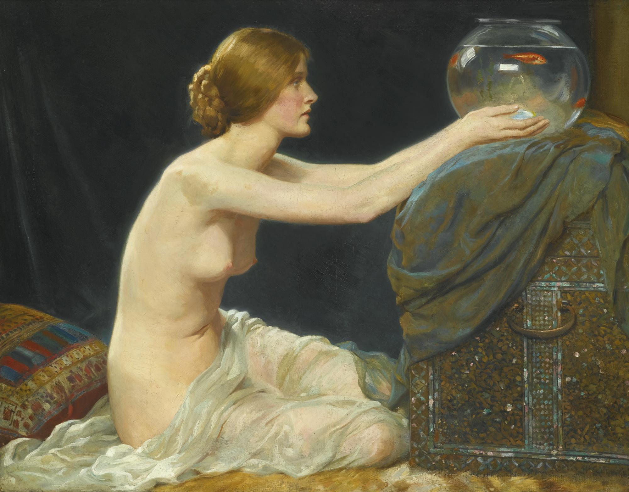 Albert Henry Collings, 1858-1947. Аквариум. 1907. 91.5 х 117 см. Частная коллекция