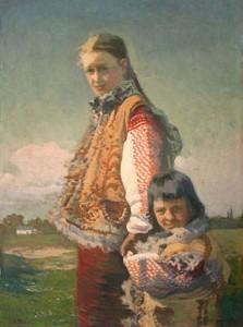 Гуцулка с ребенком.