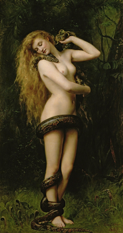 John Maler Collier, 1850-1934. Лилит. 1892. 86 х 46 см. Саутпорт, Худож. галерея Эткинсона