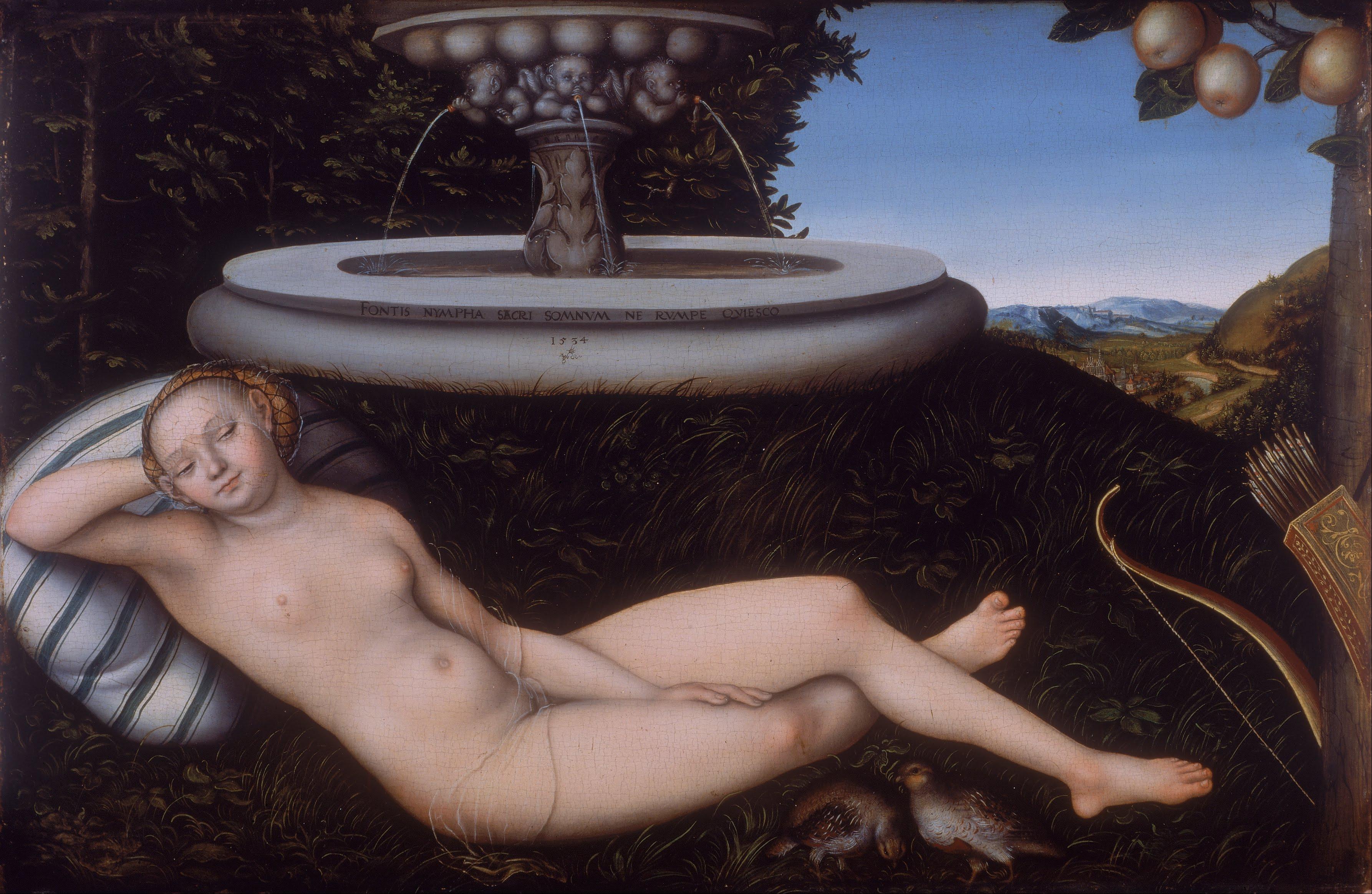 Lucas Cranach I, 1472-1553. Нимфа фонтана. 1534. 50.8 х 76.2 см. Ливерпуль, Художественная галерея Уолкера