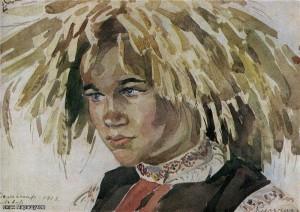 Мальчик в венке из колосьев. Львовщина. 1913 г.