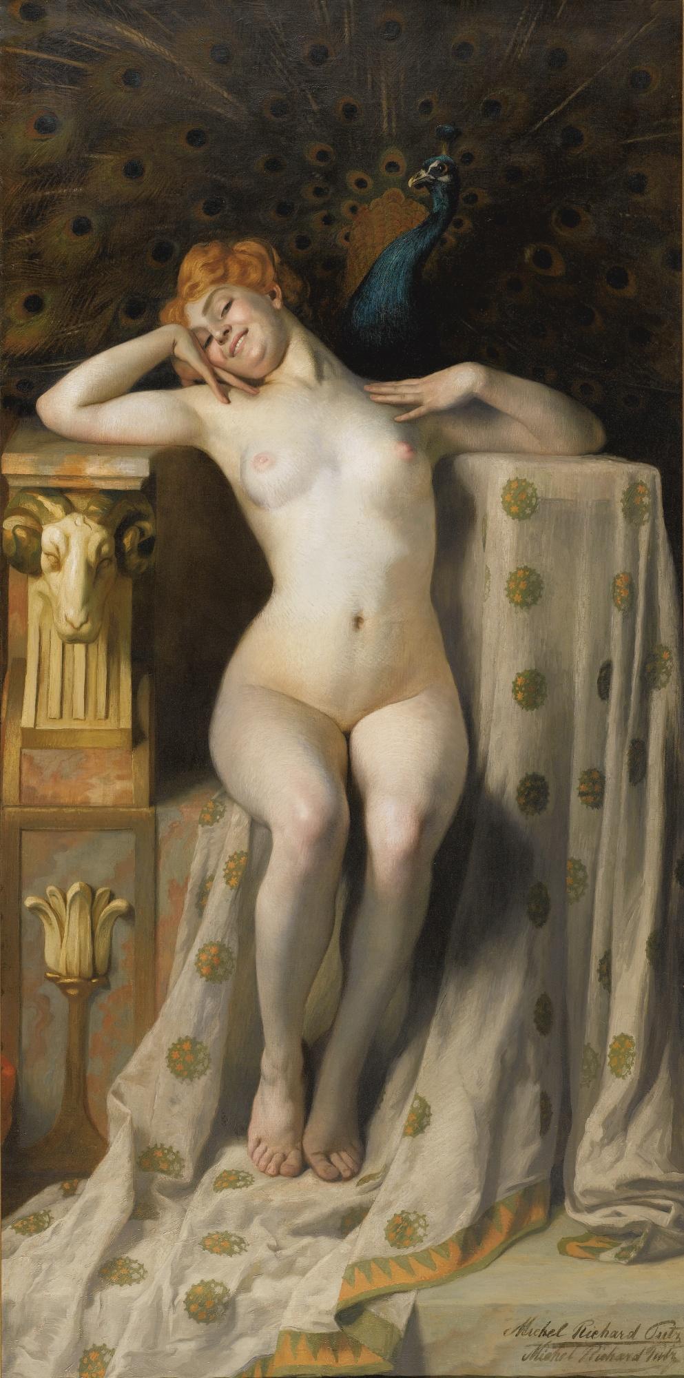 Michel Richard-Putz, род в 1868. Павлин за троном. 200 х 100 см. Частная коллекция